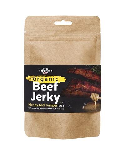 SirLoin Organic Beef Jerky Honey and Juniper, 50g